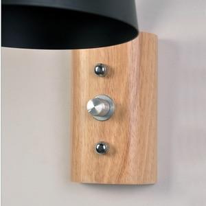 Image 3 - Nordic kreatywny przy łóżku lampa z przełącznikiem osobowości drewna + kutego żelaza kinkiet sypialnia badania Macaron E27 żarówka LED kinkiety
