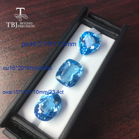 Tbj,natural Brazil blue topaz mix shape real loose gemstone for DIY gold and 925 silver jewelry