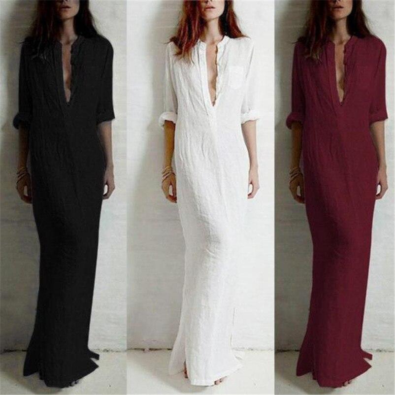 b50db3e5ba New Fashion 2019 Women s Sexy Casual Long Sleeve V-neckline Solid Long Maxi  Dress vestido