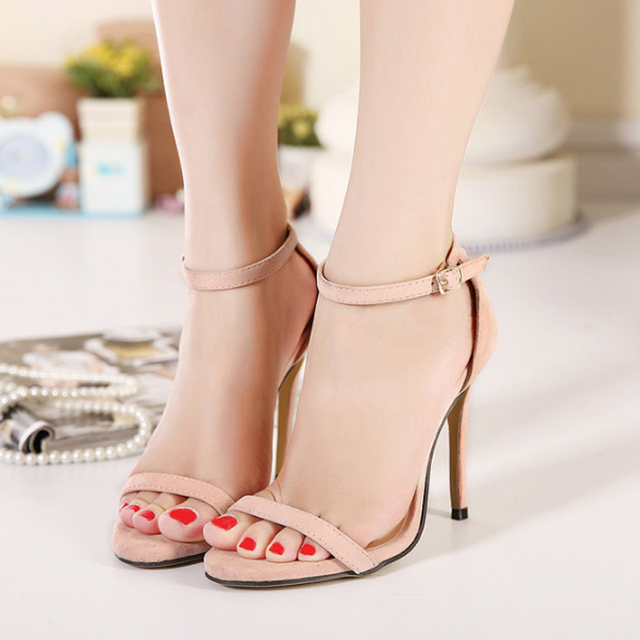 672f84dfe Nice New Womens Ladies Strappy Stiletto Super High Heel Sandals Summer  Ankle Strap Cuff Peep Toe Shoes Sandalias Mujer WO133