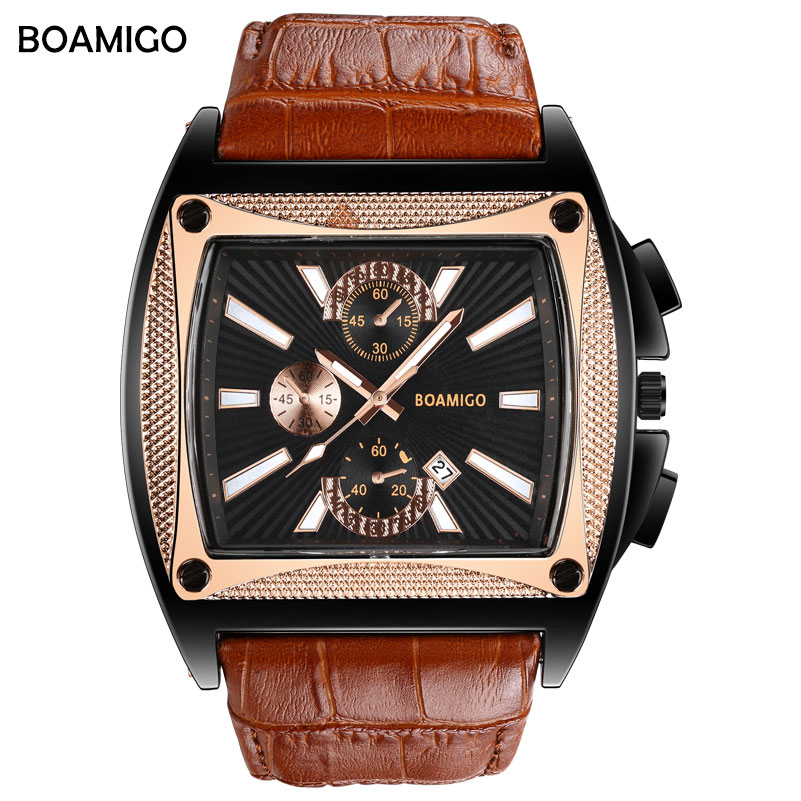 BOAMIGO brand men quartz watches big dial fashion stlye wrist watch brown leather strap auto date gift clock relogio masculino fashion male watches men top famous brand gold wrist watch leather band quartz casual big dial clock relogio masculino hodinky36