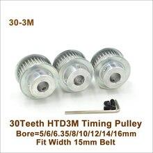POWGE-poulie de courroie de synchronisation à 30 dents 3M, 5/6/6, 35/8/10/12/14mm pour Machine CNC