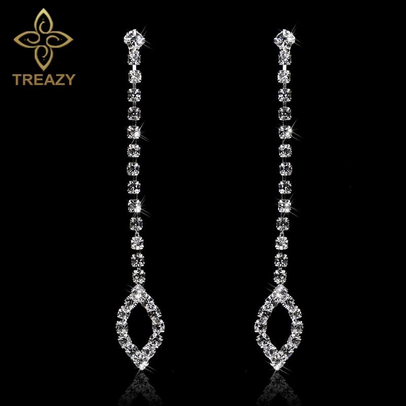 Long Crystal Drop Leaf Earrings Diamante Wedding Rhinestone Silver Dangle Prom