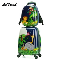 Letrend New backpack Cartoon Cute Animal Kids Rolling Luggage Set Spinner Children Suitcases Trolley Travel Bag Student