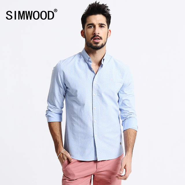 2018 New Arrival Simwood Men Clothing Shirt Long sleeved Polka Dot Casual Slim Fit Shirts Plus Size Free Shipping CS1518