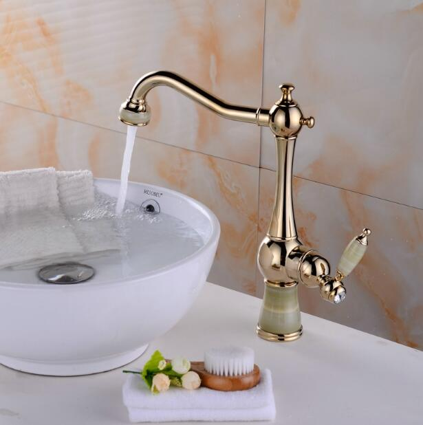 Free shipping brass material gold finished jade body bathroom single lever hot and cold sink faucet,basin tap kitchen faucet free shipping luxury water tap swival brass chrome kitchen faucet tap single hole cold and hot bathroom kitchen sink faucet