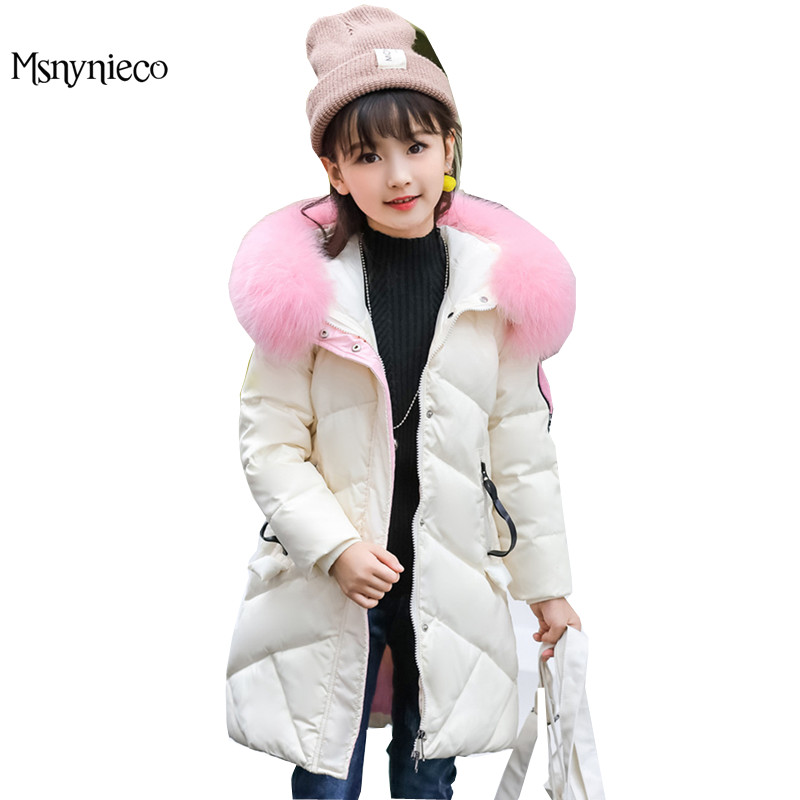 Girls Winter Coat Casual Outerwear Warm Long Thick Hooded Down Jacket for Girls 2017 Teenage Kids Parkas Children Clothing winter baby girl coats kids warm long thick hooded jacket for girls 2017 casual toddler girls clothes children outerwear