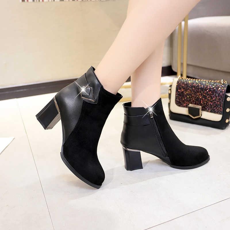 Модные зимние женские ботинки из черной замши; женские ботинки; пикантные ботильоны на высоком каблуке; женские ботильоны; zapatos mujer