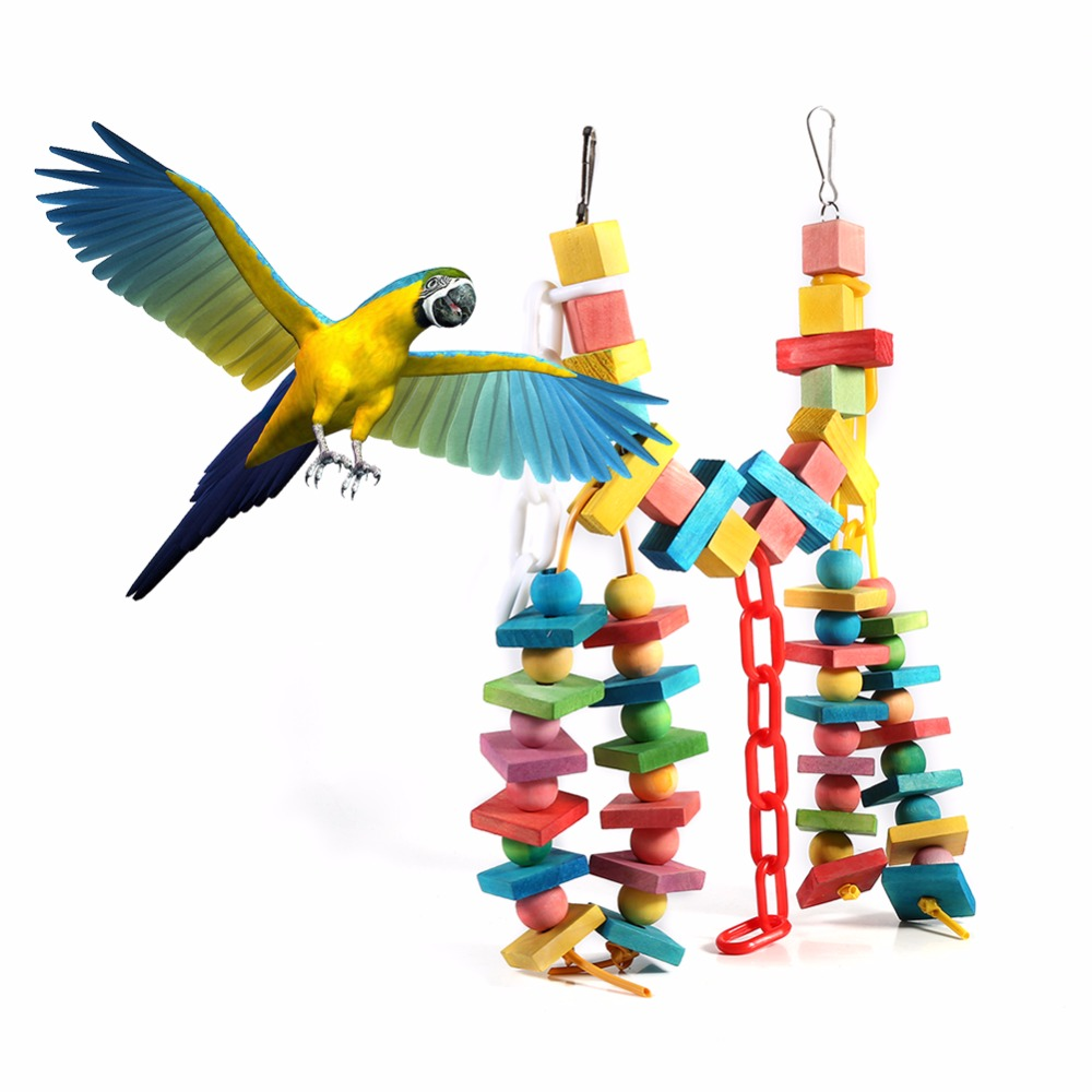 Parakeet Toys And Accessories : Parrot bird toys colorful wood bites climb chew toy