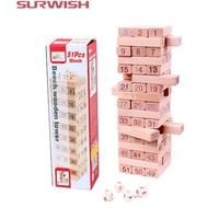 51Pcs Number Building Blocks Beech Wooden Jenga Game For Kids