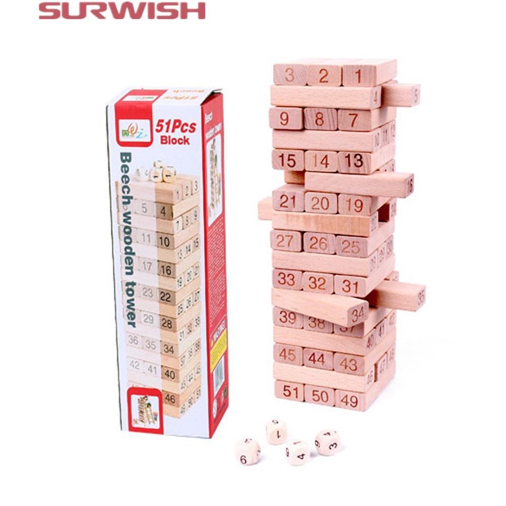 цены на Surwish 51Pcs Number Building Blocks Beech Wooden Jenga Game for Kids в интернет-магазинах