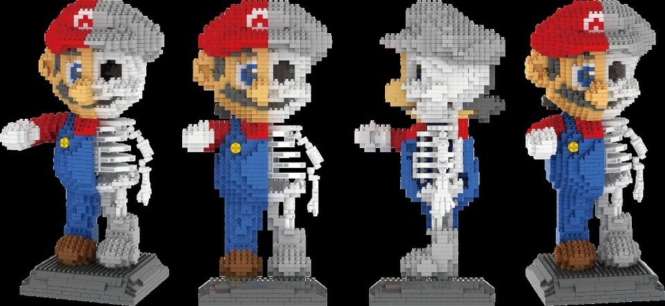 Mini Brick Super Mario Bros Skeleton Dissection Block Bowser Diy
