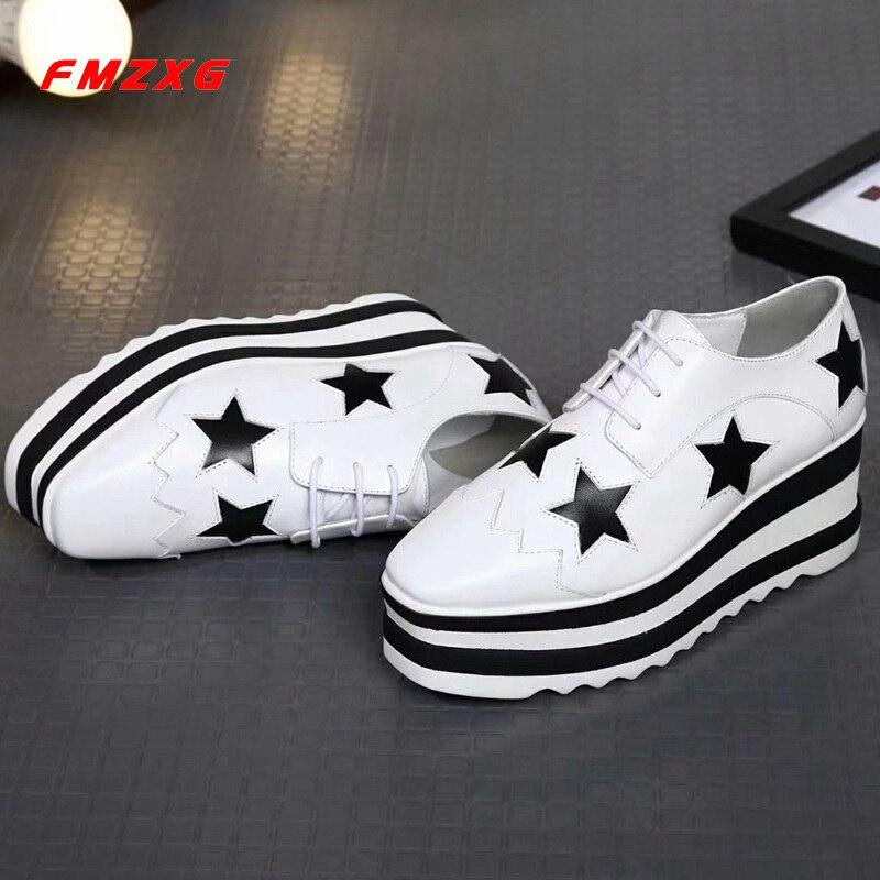 FMZXG Wedges Platform Women Shoes Luxury Brand Flats Genuine Leather Fashion Casual Wedge Designer Woman Shoe Women Sandles Shoe