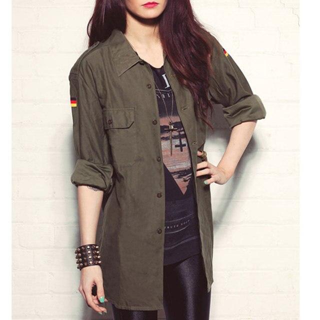 2016 Корейский стиль ветер пальто женская полный рукавом отложным воротником пальто пыли ветровка армия зеленый причинно Куртка плюс размер