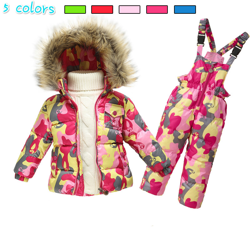 waterproof Snowsuit baby boys winter snow wear hooded faux fur collar toddler girls outwear white down jackets thermal jumpsuits 2016 winter boys ski suit set children s snowsuit for baby girl snow overalls ntural fur down jackets trousers clothing sets