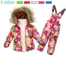 waterproof Snowsuit child boys winter snow put on hooded fake fur collar toddler women outwear white down jackets thermal jumpsuits
