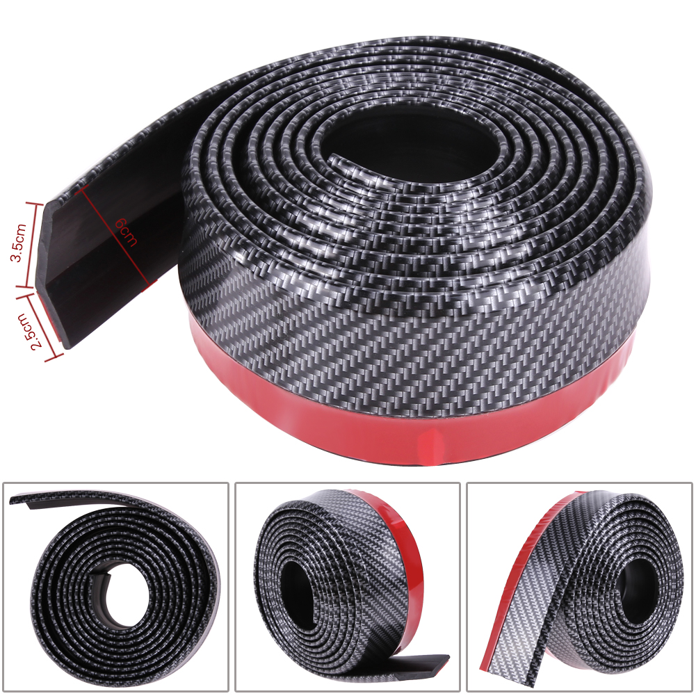 Carbon Fiber Rubber Soft Black Bumper Strip Car Exterior Front Bumper Lip Kit / Car bumper Strip 60mm Width 2.5m length Hot Sell