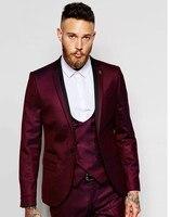 Brand New Groomsmen Notch Lapel Groom Tuxedos Burgundy Jacket Men Suits Wedding Best Man Blazer (Jacket+Pants+Tie+Vest) B987