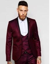 Новый Groomsmen Нотч Жених Смокинги Бордовый Пиджак Мужские Костюмы Свадебные Лучший Мужчина Пиджак (Куртка + Брюки + галстук + Жилет) B987