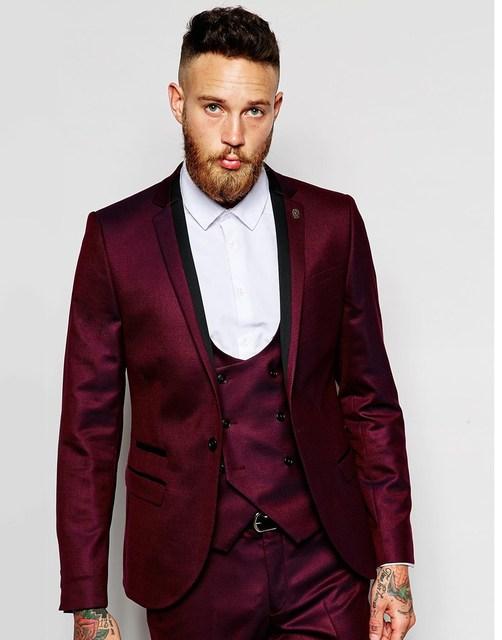 Marca Nueva Borgoña Chaqueta Muesca Solapa Esmoquin Del Novio Padrinos de boda de Los Hombres Trajes de Boda Mejor Hombre Chaqueta (Jacket + Pants + + Tie + Vest) B987