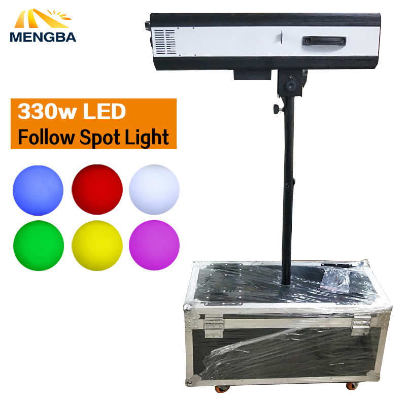 Newest 330w LED Follow Spot Light With Power 330 W LED Follow Tracker with Flight Case For Wedding/Theater Performance