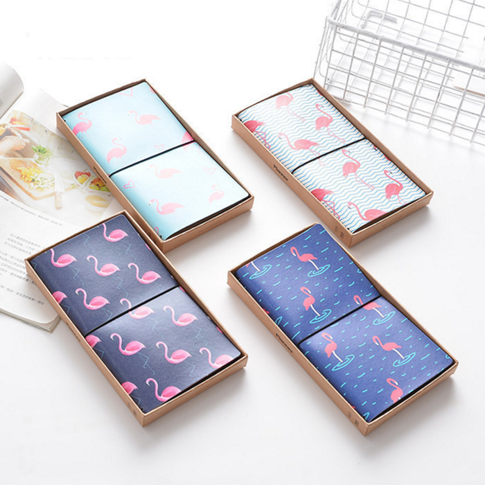 1 Pcs New Strolling Flamingo PU Leather Cover Planner Notebook Diary Exercise Composition Binding Note Notepad Gift Stationery
