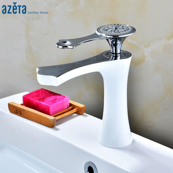 Azeta Bathroom White Faucet Sink Single Handle Water Tap Bathroom Deck Mounted Wash Basin Faucets Mixer AT6306CW