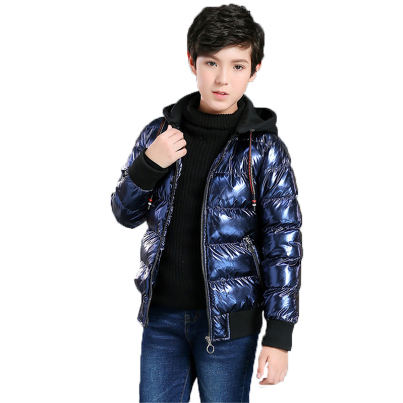 8-17 Years Boys girls Winter Coat Parka Cotton-wadded Jacket Hooded Warm Jacket 2018 Bronzing Thicken Warm waterproof Outerwear 2017 new winter women hooded outerwear parka long warm thick coats female jacket wadded plus size cotton coat xt0230