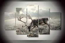 5 piece set printed Elk canvas painting Canvas deer picture painting anime room decor print poster wall art WD-1900(China)
