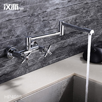 Sent Full Copper Hot And Cold Kitchen Faucet Wall Mounted Type Faucet Dual Wash Dishes Basin