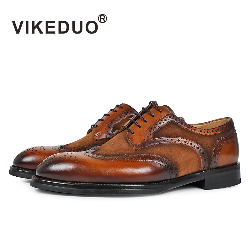 VIKEDUO Luxury Brand 2017 Newest Vintage Men's Shoes Italy Royal Derby Man Footwear Outdoor Bullock Carved Shoe Real Leather 2015 newest royal 100
