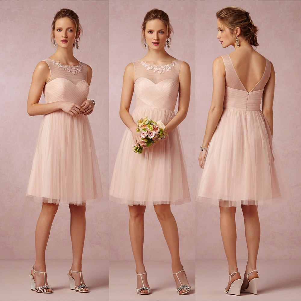Cute Short Light Pink/Blush Bridesmaid Dresses Cheap Empire Tulle ...