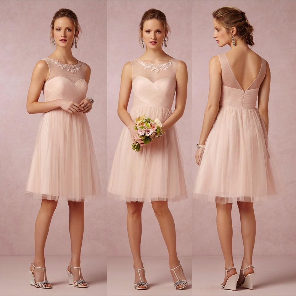 Popular blush bridesmaid dress buy cheap blush bridesmaid for Wedding guest dress blush pink