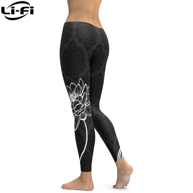 LI-FI Elastic Fitness Leggings Tights Slim Running Sportswear Sports Pants Women Yoga Pants Quick Drying Training Trousers 5