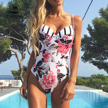 Traje de baño de una pieza con estampado Floral CUPSHE ajustable Push Up Heart Neck Monokini 2019 Sexy playa trajes de baño(China)