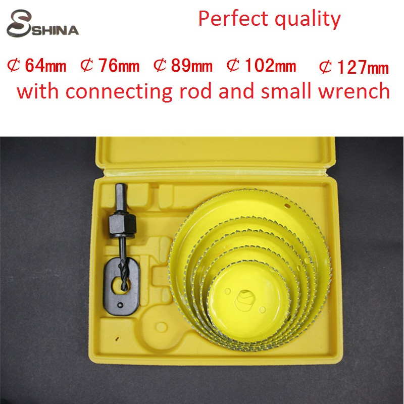 SHINA 5PCS DIY Hole Saw Tools Drill Bit Cutting Set Kit 64mm-127mm Wood Sheet Metal Alloys Circular Round Case  with Mandrel new 50mm wall hole saw drill bit set 200mm connecting rod with wrench mayitr for concrete cement stone