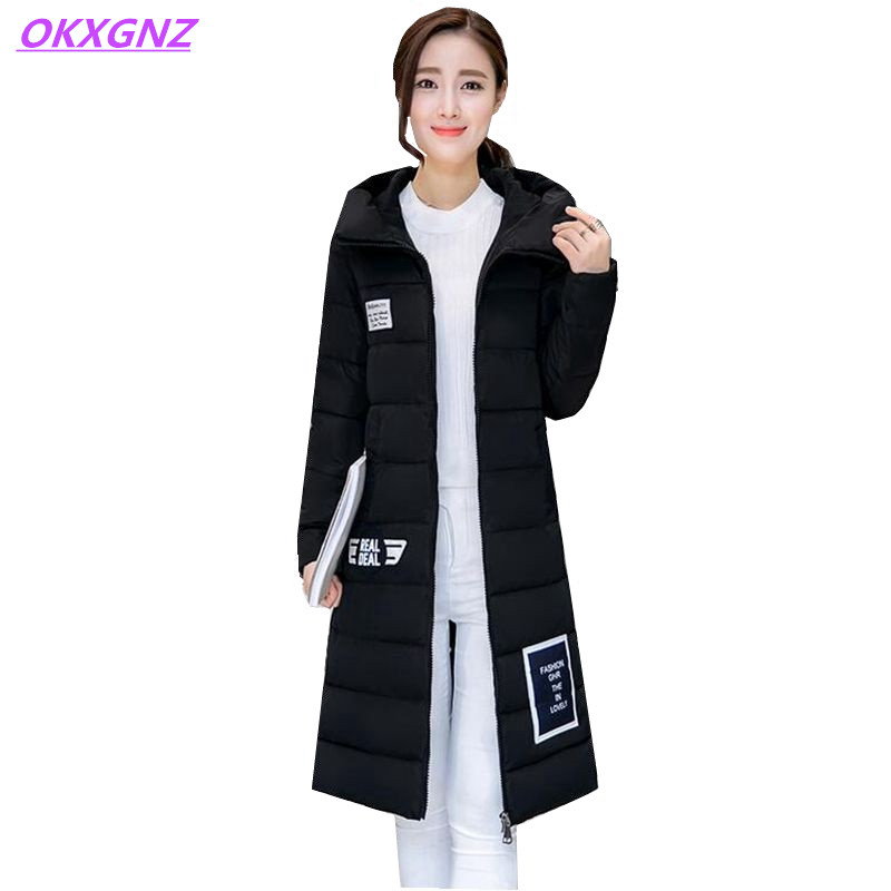 OKXGNZ Winter Cotton Jacket Coat Women 2017Long  Cotton-padded Costume Hooded Loose Warm Coats Plus Size Women Basic Coats AH021 okxgnz winter cotton jacket coat women 2017long cotton padded costume hooded loose warm coats plus size women basic coats ah021
