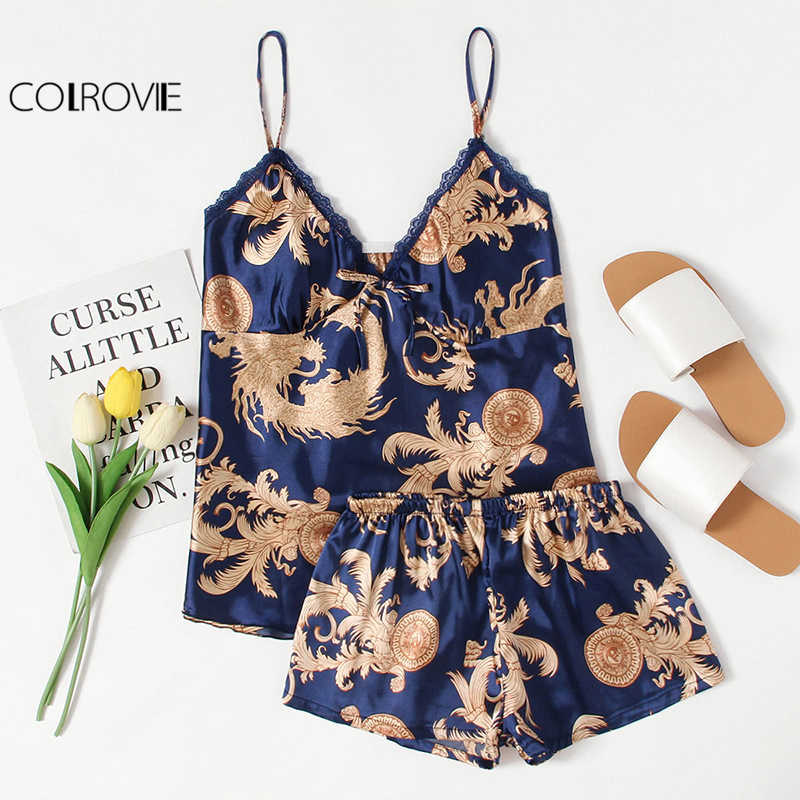 dc2cd41b58 COLROVIE Graphic Print Satin Pajama Set V Neck Spaghetti Strap Sleeveless Sleepwear  Women Sexy Winter Pajama