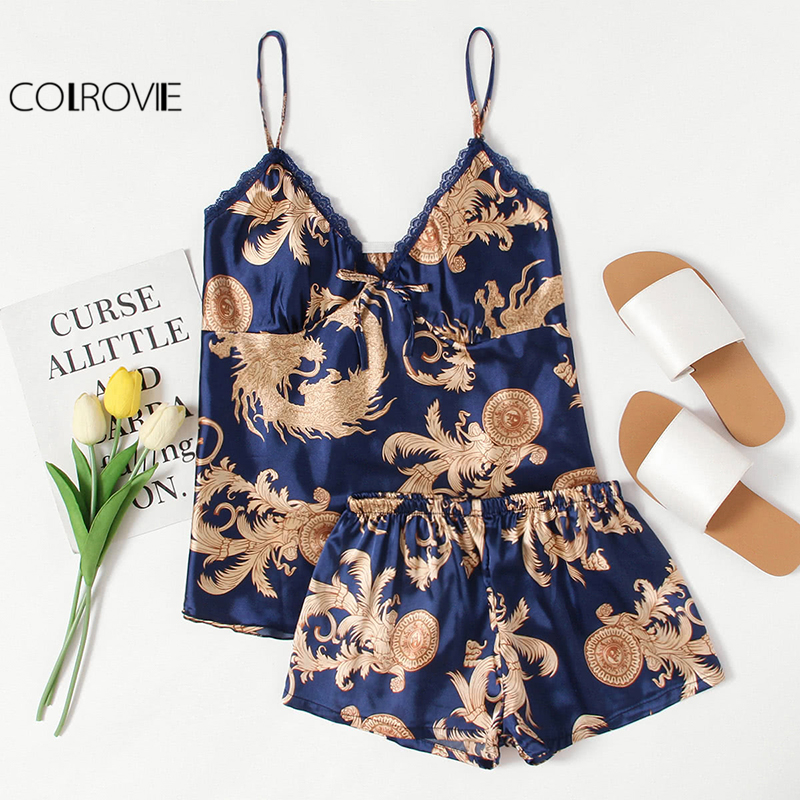 COLROVIE Graphic Print Satin   Pajama     Set   V Neck Spaghetti Strap Sleeveless Sleepwear Women Sexy Winter   Pajama     Set