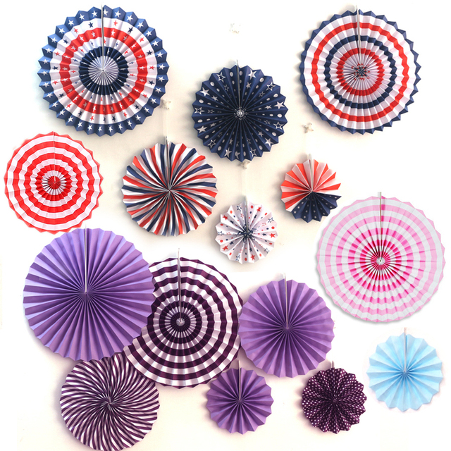NEW 6pcs Set American Flag Round Tissue Paper Fans Colorful Star Strips Wheel Lanterns For