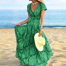 JAYCOSIN, летнее пляжное макси платье, женское длинное платье в стиле бохо с цветочным принтом, повседневные Сексуальные вечерние платья с v-образным вырезом и поясом, женское платье 718