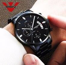 NIBOSI Black Mens Fashion Casual Dress Watch Men Military Quartz Wristwatches Relogio Masculino Men Watches Luxury Brand Watch