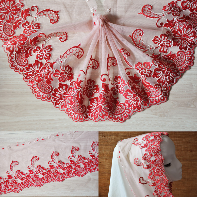 19cm(4meters/lot) free shipping beautiful flower embroidered lace trim mesh tulle veils accessary Z1125
