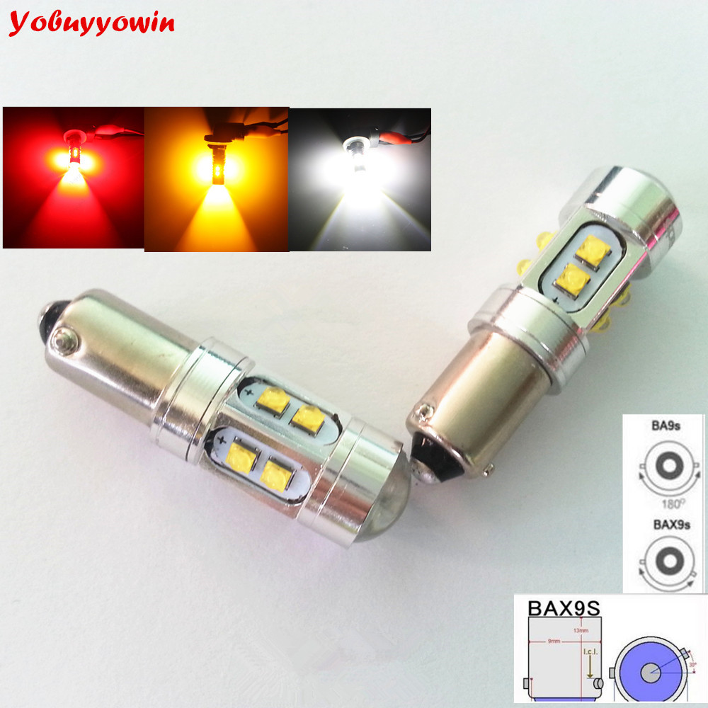 2 PCS BAX9S H6W 10*5W Cree Chips DC 12V DC 24V For Car Parking Clearance Lamps Back Up Reverse Light Sidelight (White/Red/Amber)