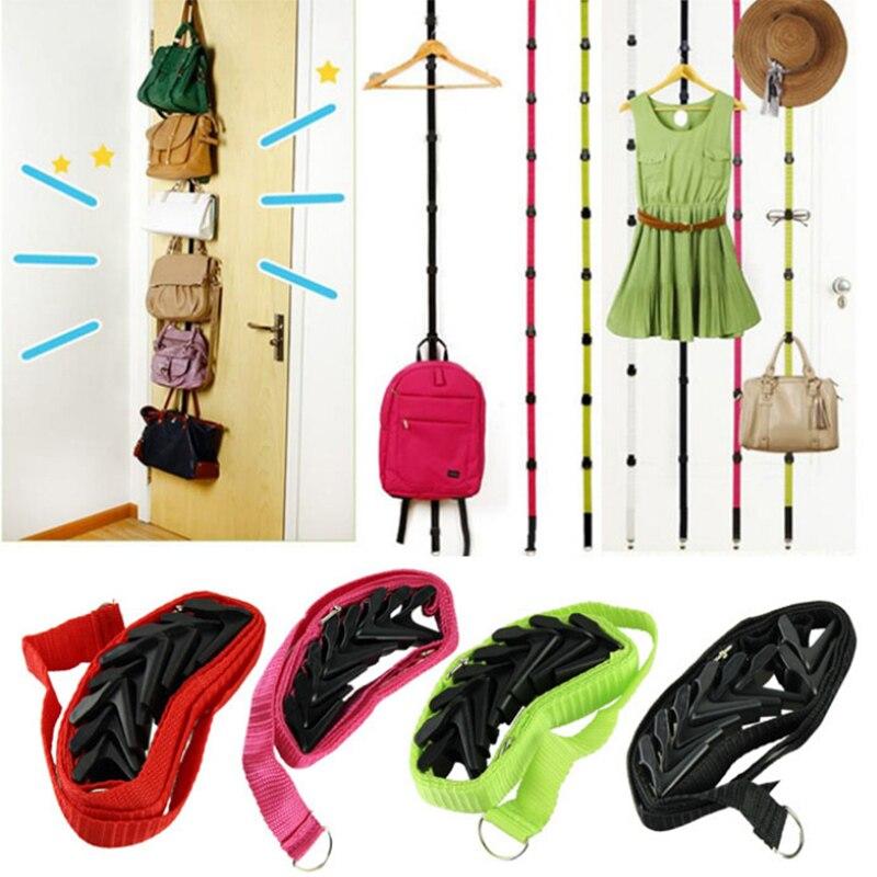 Adjustable Overdoor Strap Hanger Hat Bag Clothes Coat Rack Home Organizer 7 Hooks Home Bathroom Bedroom Supply Robe Hooks