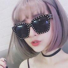 KRMDING Fashion trend crystal side sunglasses female retro brand designer square glasses large diamond UV400