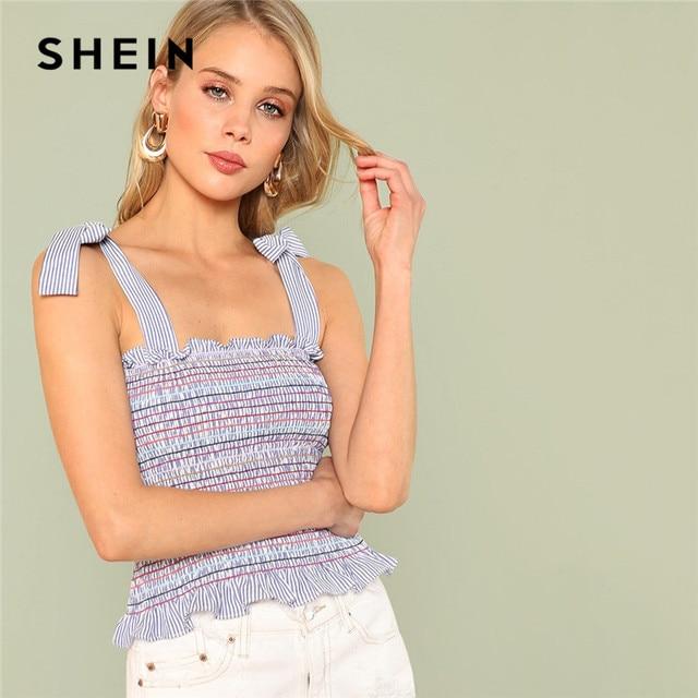 cd61f5c9363 SHEIN Vacation Streetwear Multicolor Knot Frill Ruffle Striped Self Tie  Shoulder Shirred Striped Women Boho Cami