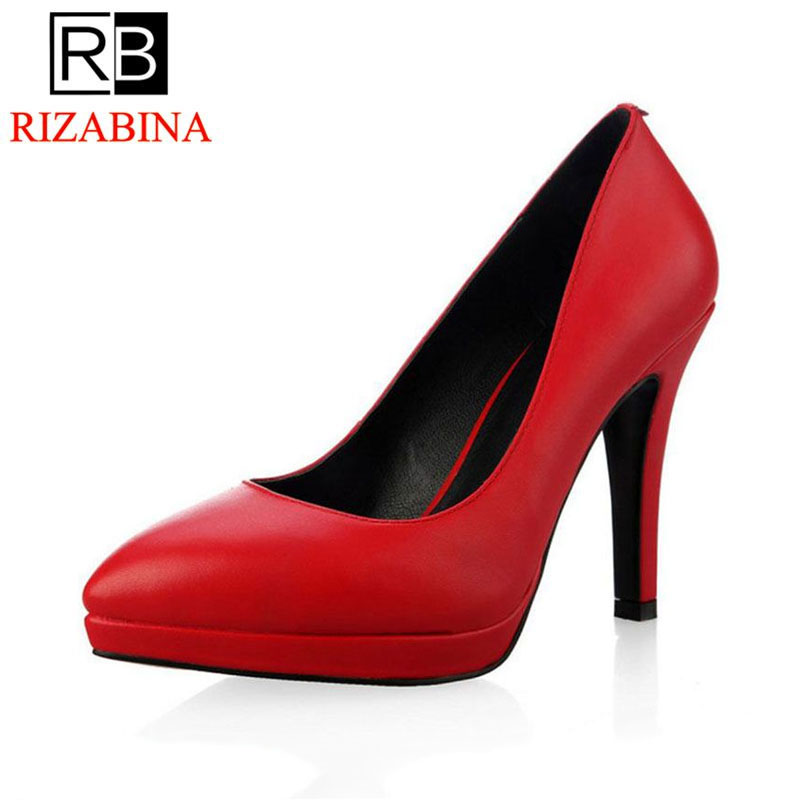 RizaBina women real genuine leather stiletto platform high heel shoes sexy brand pumps ladies heeled shoes size 34-39 R5589 women real genuine leather pointed toe square high heel shoes woman sexy fashion leisure ladies heeled shoes size 34 39 r7159