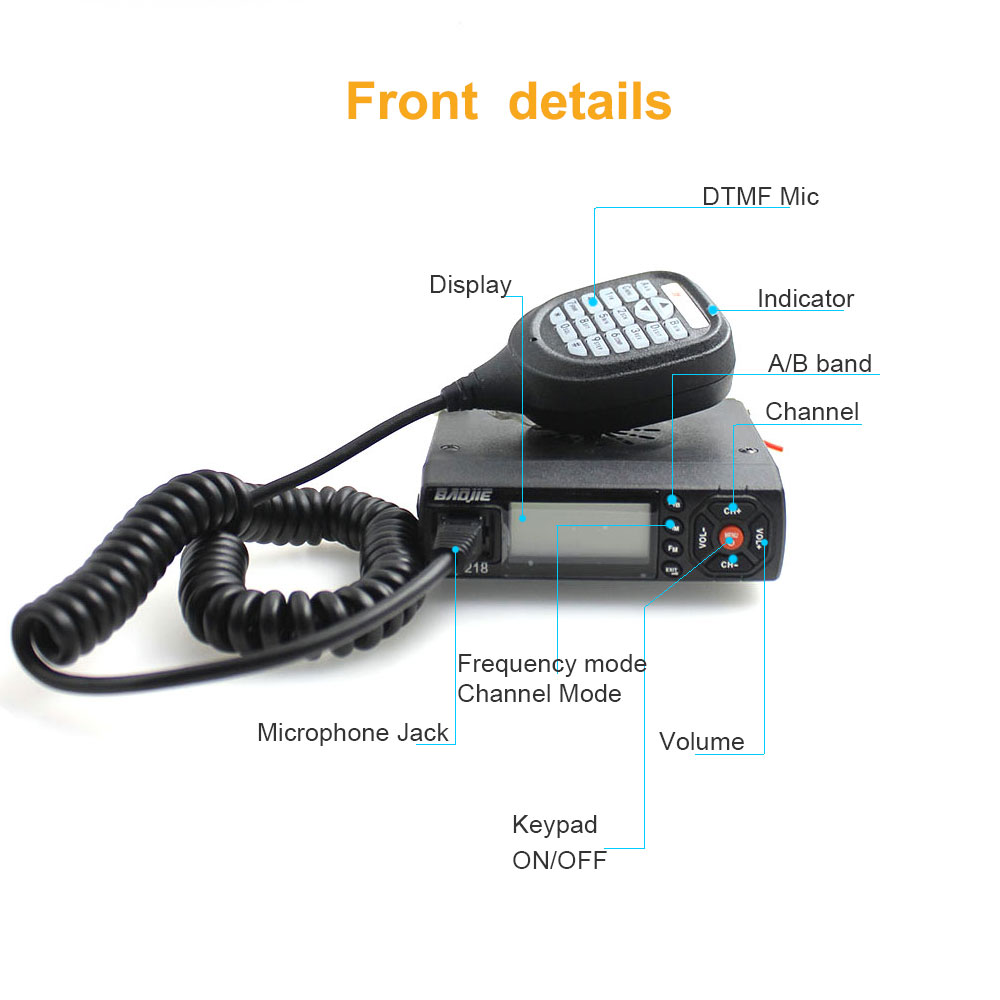 Image 3 - Mini Mobile Radio BJ 218 25W Output Power Dual Band Ham Radio for Car Taxi BJ218 walkie talkie-in Walkie Talkie from Cellphones & Telecommunications