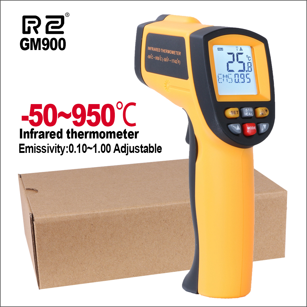 RZ IR Infrared Thermometer Thermal Imager Handheld Digital Electronic Outdoor Non-Contact Laser Pyrometer Point Gun Thermometer